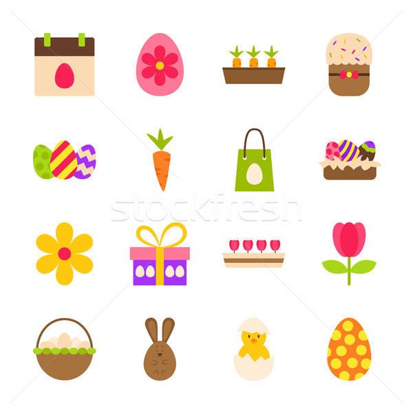 Kellemes húsvétot tavasz tárgyak szezonális ünnep szett Stock fotó © Anna_leni