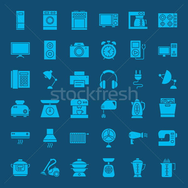 Household Solid Web Icons Stock photo © Anna_leni