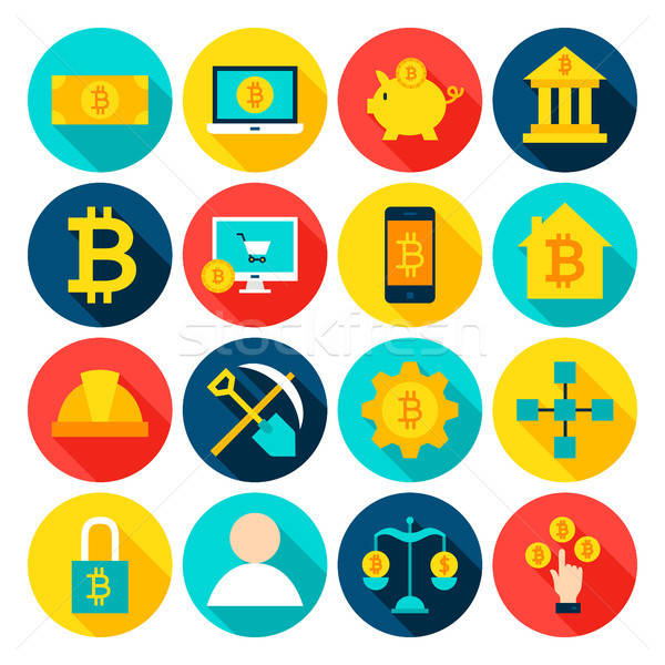 Cryptocurrency Bitcoin Flat Icons Stock photo © Anna_leni
