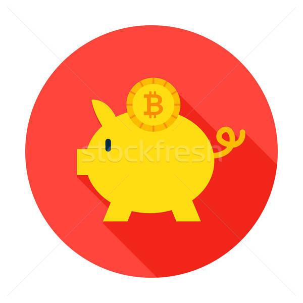 Bitcoin círculo ícone estilo longo Foto stock © Anna_leni
