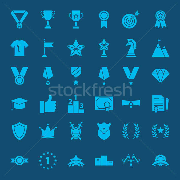 Winning Award Glyph Web Icons Stock photo © Anna_leni