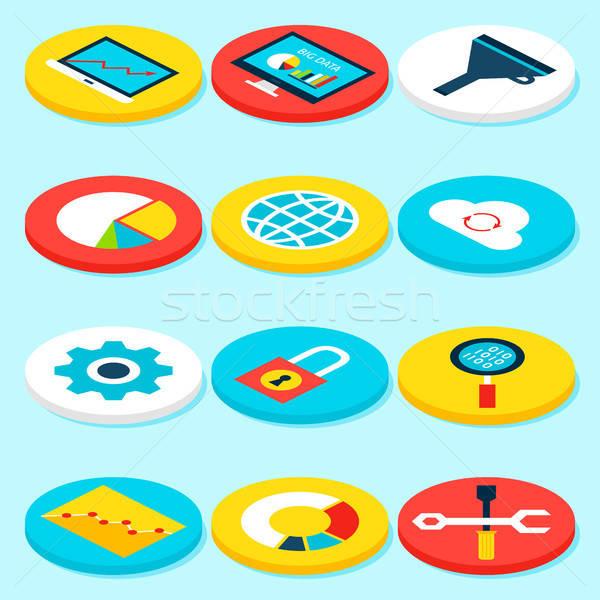 Big Data Isometric Icons Stock photo © Anna_leni