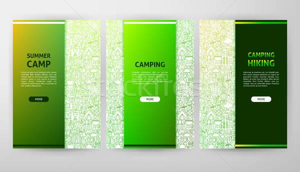 Kamp broşür web tasarım afiş yangın Stok fotoğraf © Anna_leni