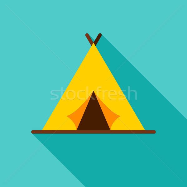 Kempingezés sátor tárgy ikon terv hosszú Stock fotó © Anna_leni