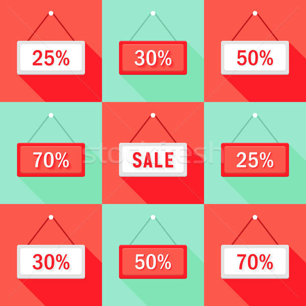Sale 25 30 50 and 70 % Sign Icons Set Stock photo © Anna_leni