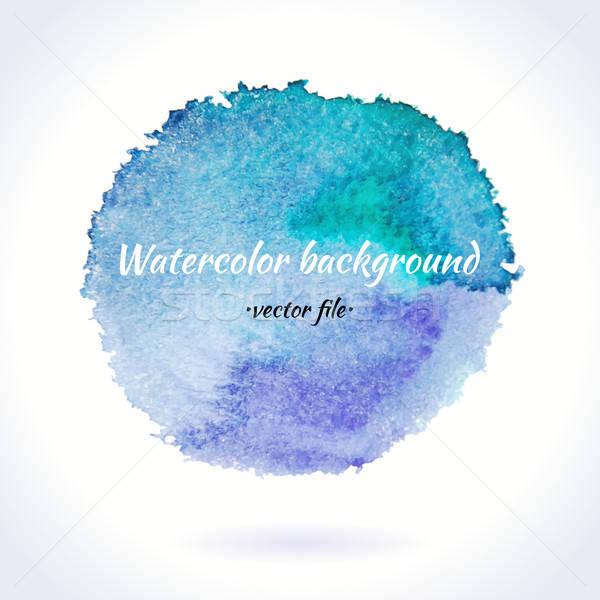 Aquarel vector Blauw paars cirkel geïsoleerd Stockfoto © Anna_leni