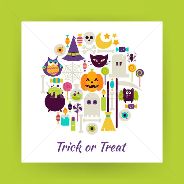 Flat Style Circle Vector Set of Halloween Trick or Treat Objects Stock photo © Anna_leni