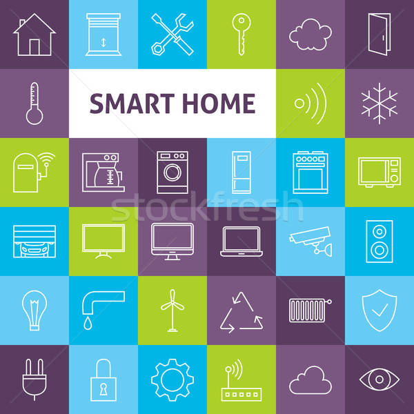 Vector Line Art Smart Home Icons Set Stock photo © Anna_leni