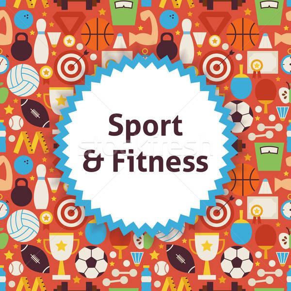 вектора шаблон спорт стиль фитнес Сток-фото © Anna_leni