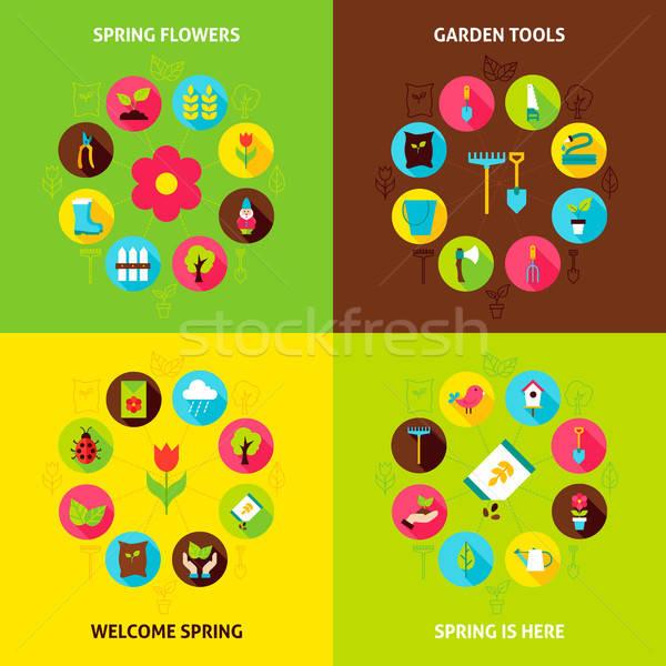 Voorjaar tuin ingesteld natuur Stockfoto © Anna_leni
