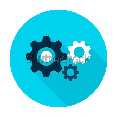 Three Gear Flat Circle Icon Stock photo © Anna_leni