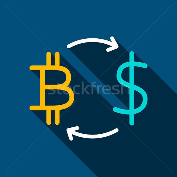 Bitcoin доллара икона долго тень деньги Сток-фото © Anna_leni