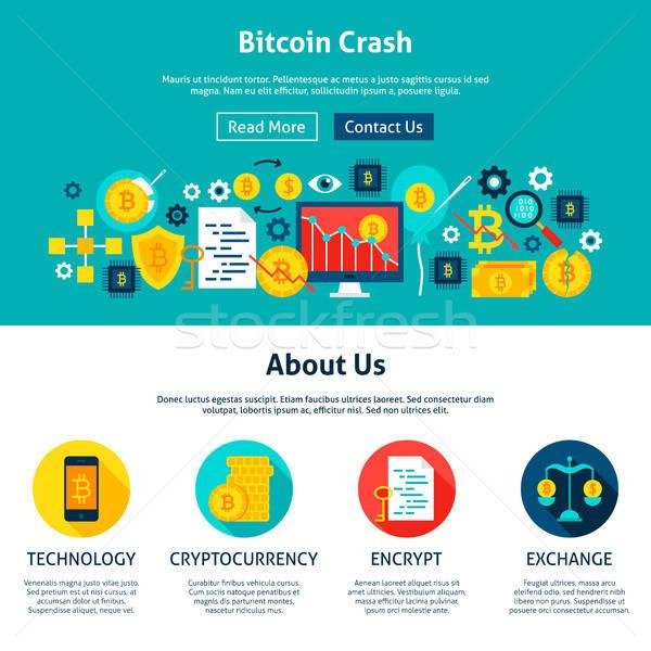 Foto d'archivio: Bitcoin · crash · progettazione · di · siti · web · stile · web · banner