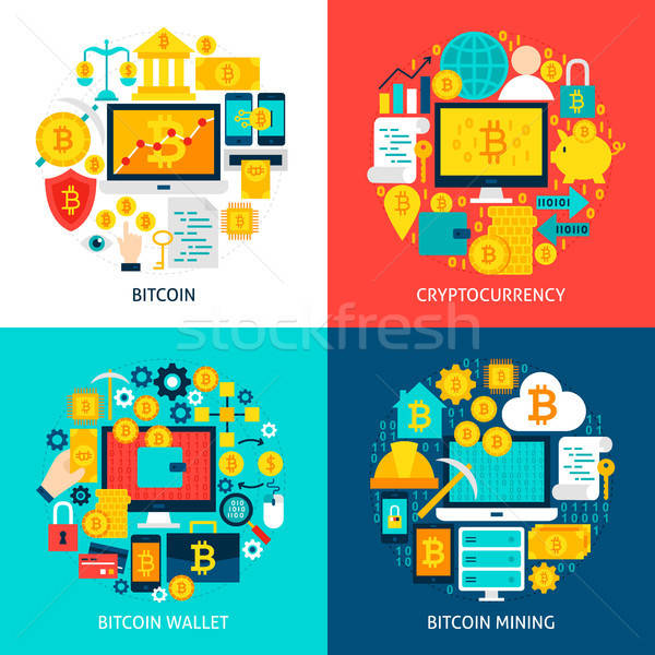 Bitcoin concepts affiche design affaires Photo stock © Anna_leni