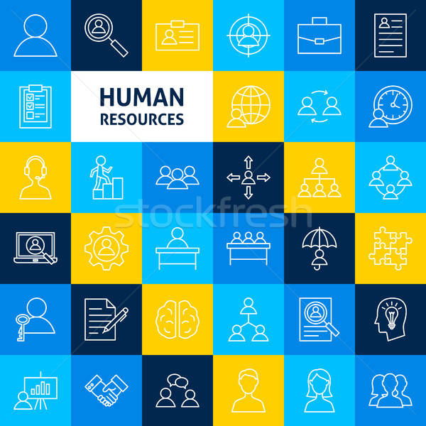 Vettore umani risorse line icone sottile Foto d'archivio © Anna_leni