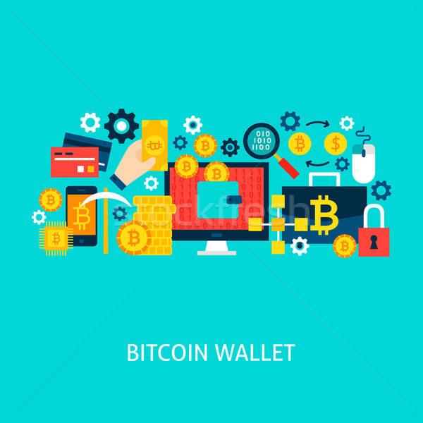 Bitcoin pénztárca vektor poszter terv szett Stock fotó © Anna_leni