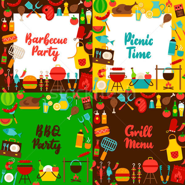 Barbecue Lettering Posters Set Stock photo © Anna_leni