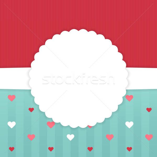 Red and blue stripped card template with hearts Stock photo © Anna_leni