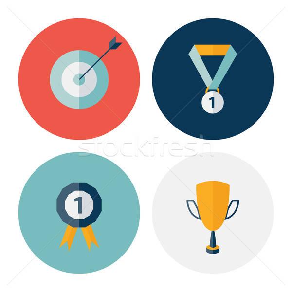 Stock photo: Flat circle career success icons set
