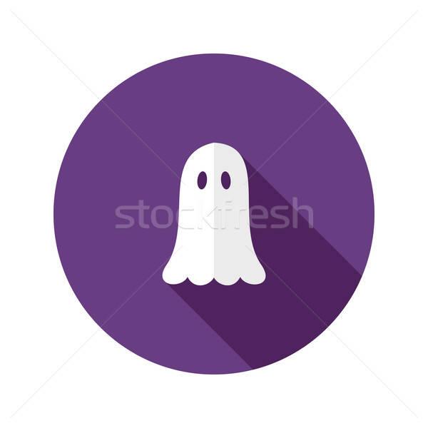 White Ghost Flat Icon over Purple Stock photo © Anna_leni