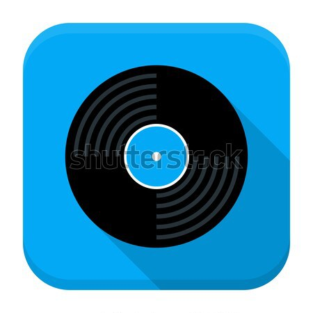 Music vinyl disc flat app icon with long shadow Stock photo © Anna_leni