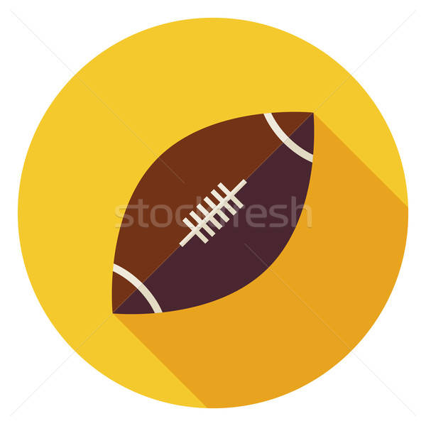 Flat Sports Ball American Football Circle Icon with Long Shadow Stock photo © Anna_leni