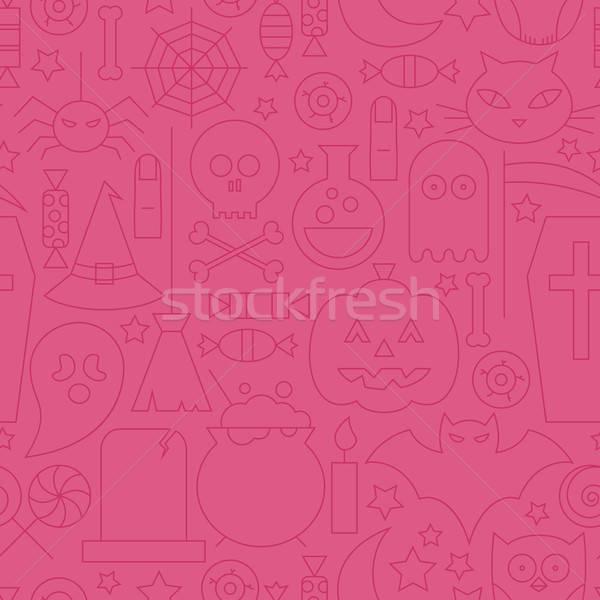 Thin Halloween Line Holiday Seamless Pink Pattern Stock photo © Anna_leni