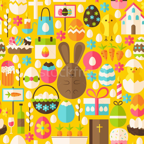 Happy Easter Holiday Vector Flat Yellow Seamless Pattern Stock photo © Anna_leni