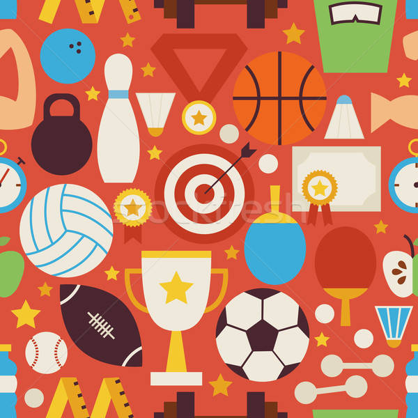 Sport Recreation and Competition Vector Flat Red Seamless Patter Stock photo © Anna_leni