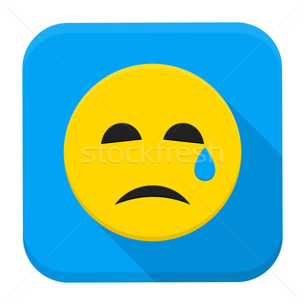Crying Yellow Smiley Face App Icon Stock photo © Anna_leni
