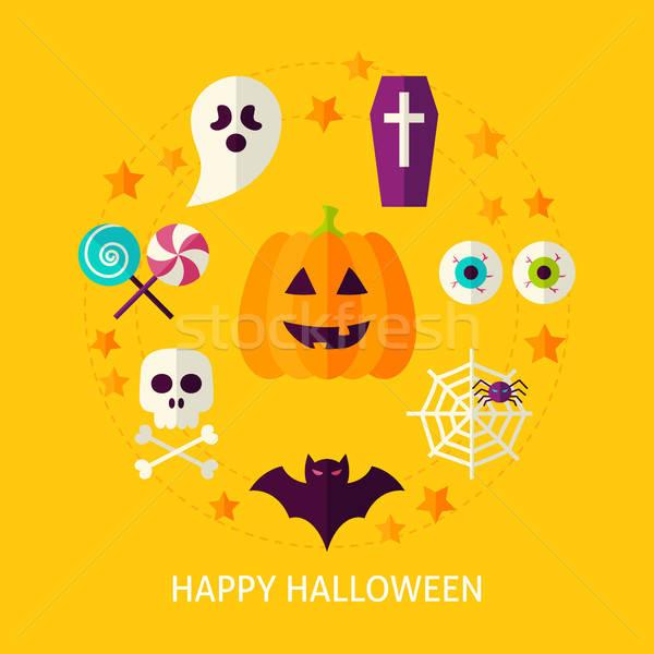 Сток-фото: счастливым · Хэллоуин · плакат · дизайна · коллекция · трюк