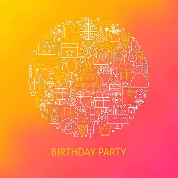 Line Birthday Icons Circle Concept Stock photo © Anna_leni