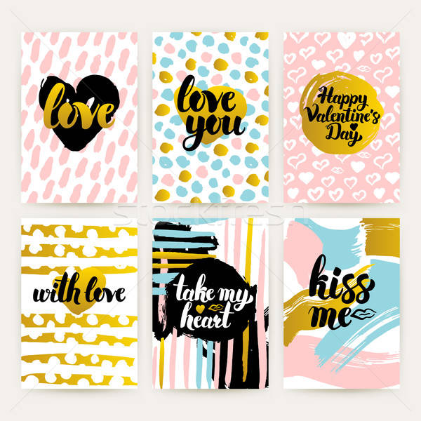 Valentines Day Trendy Posters Stock photo © Anna_leni