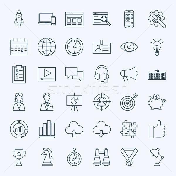 Zdjęcia stock: Line · startup · ikona · wektora · zestaw