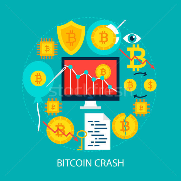 Bitcoin crash poster design set soldi Foto d'archivio © Anna_leni