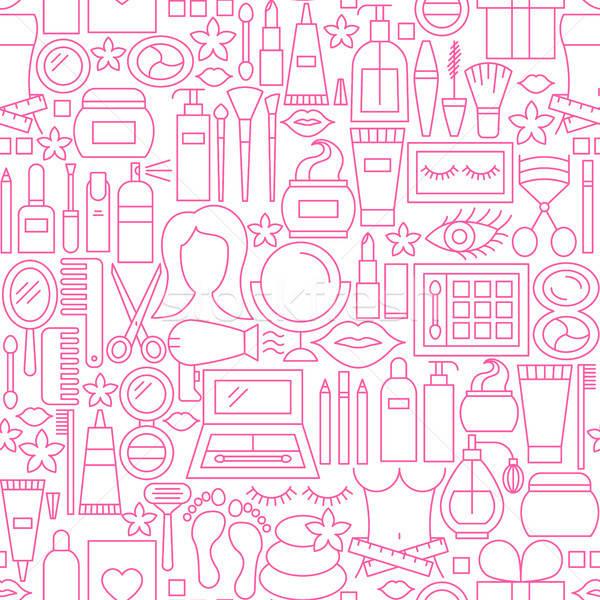 Cosmetics White Line Seamless Pattern Stock photo © Anna_leni