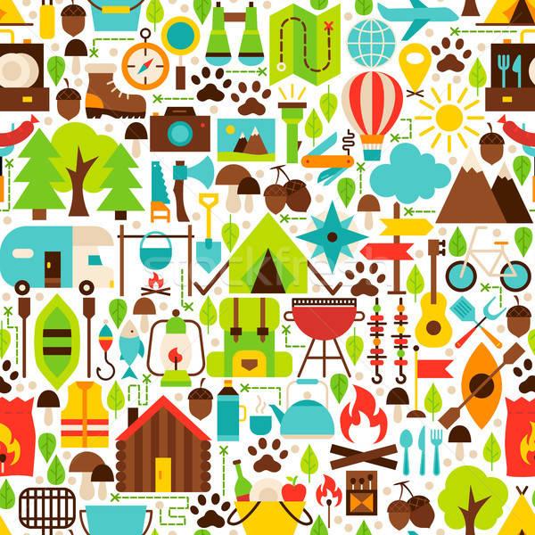 Camping Flat Seamless Pattern Stock photo © Anna_leni