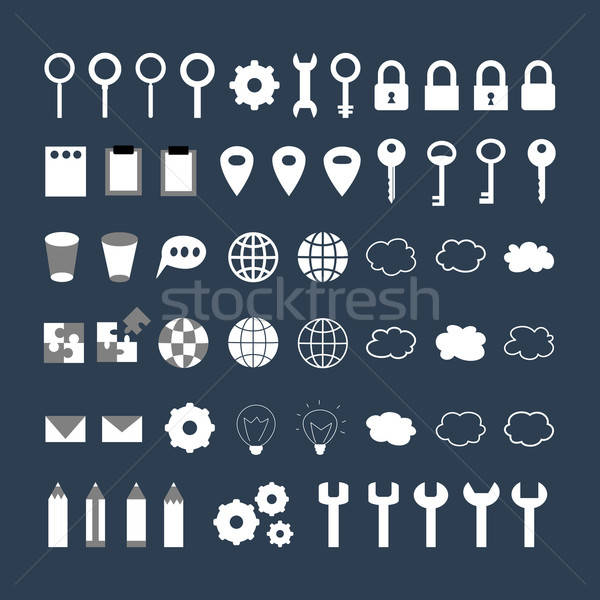 Stock photo: White business icons set over blue