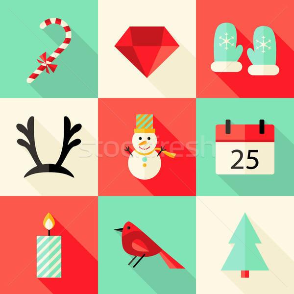 9 Christmas Flat Icons Set 3 Stock photo © Anna_leni