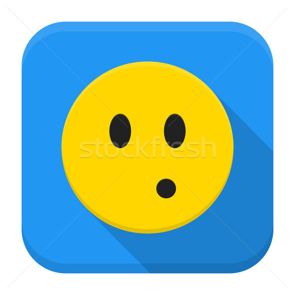 Surprised yellow smile app icon with long shadow Stock photo © Anna_leni