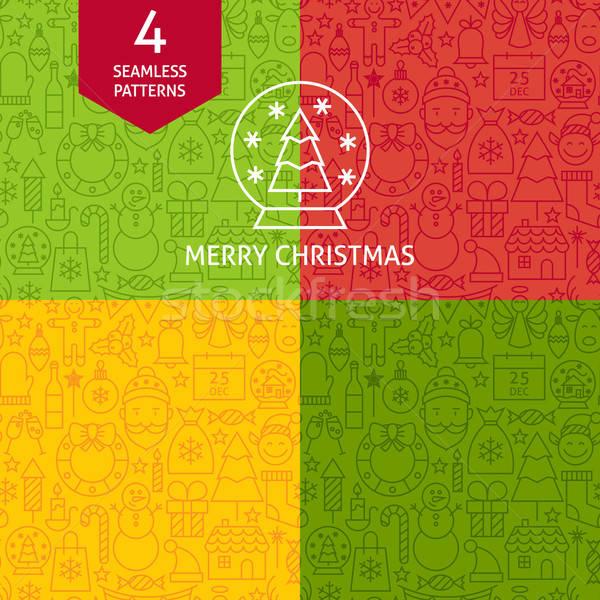 Thin Line Merry Christmas Holiday Patterns Set Stock photo © Anna_leni