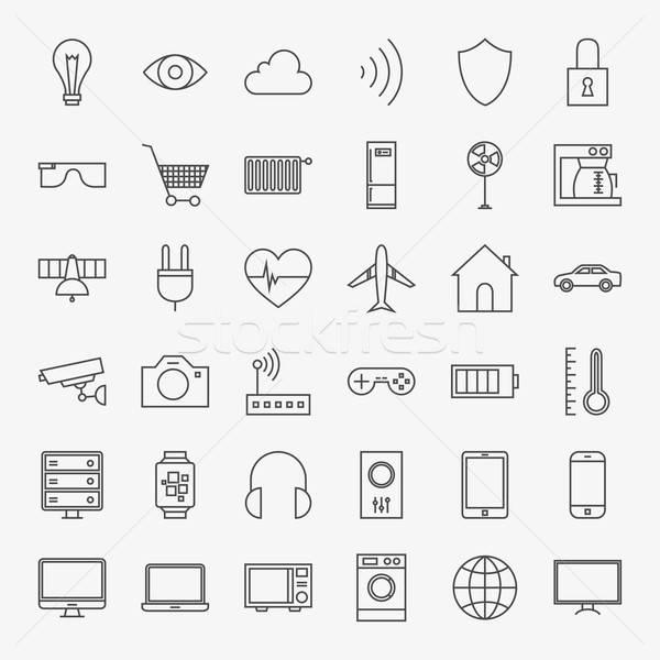 Linha internet coisas projeto ícones grande Foto stock © Anna_leni