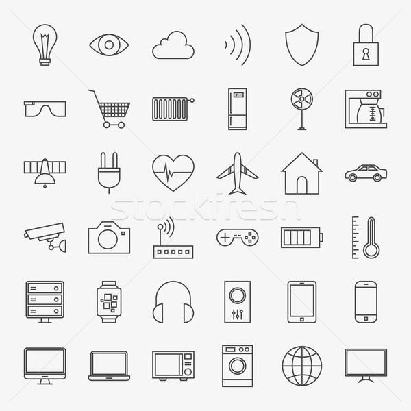 Line Internet of Things Design Icons Big Set Stock photo © Anna_leni