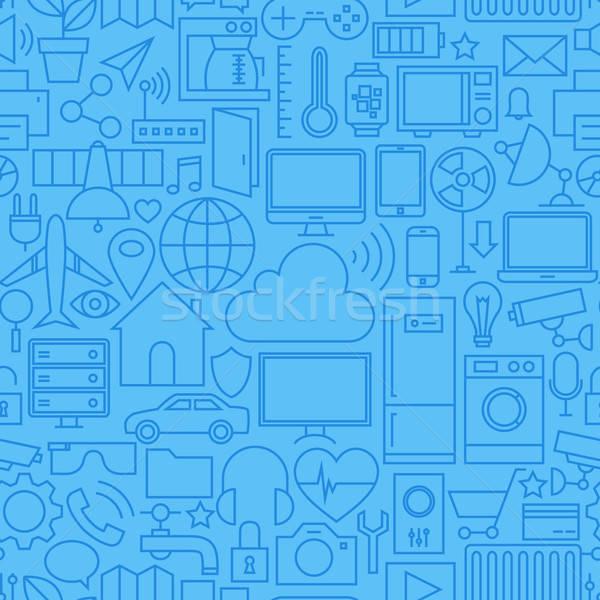 Thin Internet of Things Line Seamless Light Blue Pattern Stock photo © Anna_leni