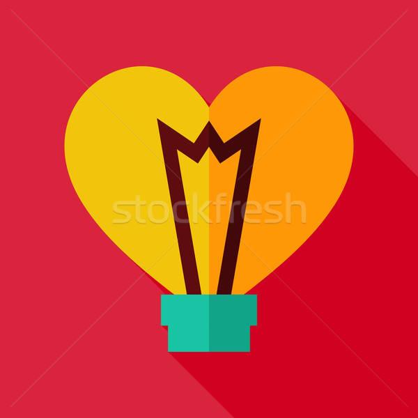 Photo stock: Vecteur · design · coeur · ampoule · icône