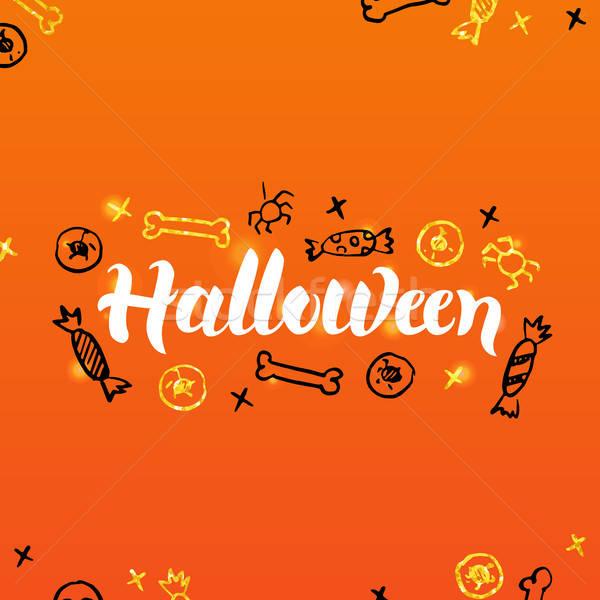 Halloween tebrik kartpostal mevsimlik tatil kaligrafi Stok fotoğraf © Anna_leni