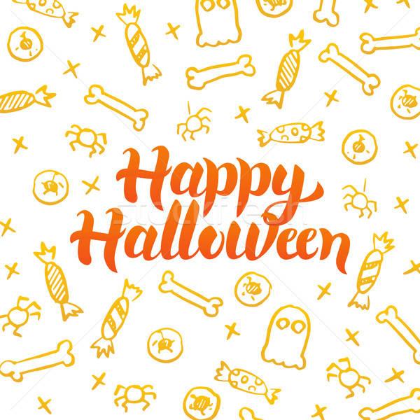 Glücklich Halloween Gold Postkarte saisonabhängig Urlaub Stock foto © Anna_leni