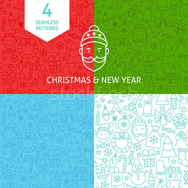 Stock fotó: Vonal · karácsony · új · év · minták · vidám · négy