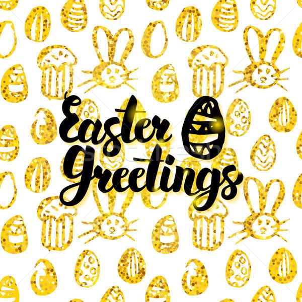 Easter Greetings Handwritten Card Stock photo © Anna_leni