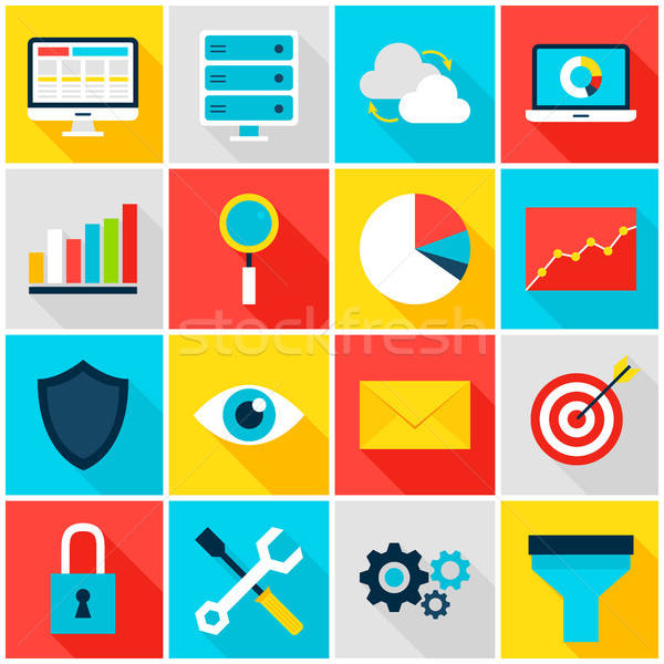 Business Analytics Colorful Icons Stock photo © Anna_leni